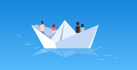 people group floating on paper boat rear view men women team traveling on sheep discovery concept mix race male female cartoon characters flat horizontal vector illustration