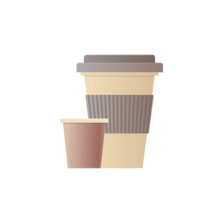 paper disposable cup for beverage with lid flat white background vector illustration
