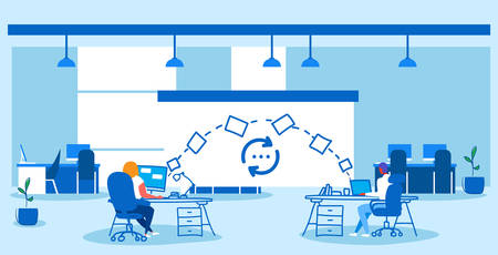 man woman coworkers transferring data folders sharing work files colleagues sitting at workplace using cloud network system file transfer concept co-working center interior sketch doodle horizontal vector illustration