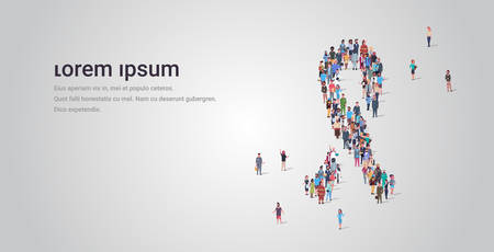 big people group standing together in ribbon shape crowd of different occupation employees breast cancer awareness concept full length horizontal copy space vector illustration Ilustração