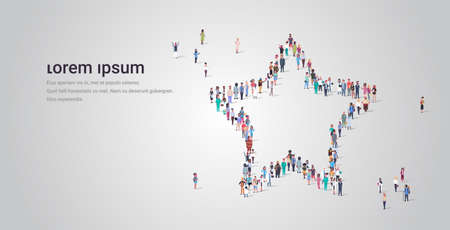 people crowd gathering in star shape social media community feedback concept different occupation employees group standing together full length horizontal copy space vector illustration