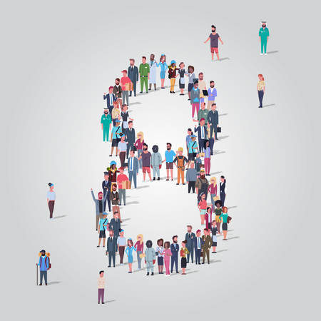 big people crowd forming number eight 8 shape different occupation employees group standing together gathering community concept full length vector illustration