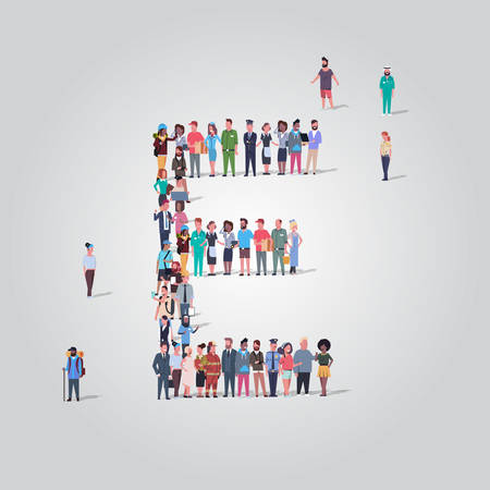 big people crowd gathering in shape letter E different occupation employees group standing together English alphabet concept full length vector illustration