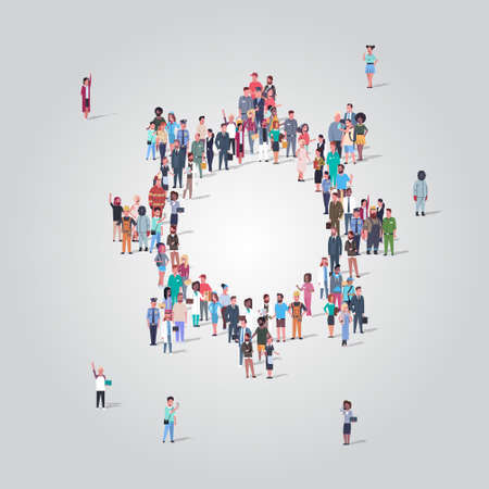 people crowd gathering in gear wheel icon shape social media community teamwork process concept different occupation employees group standing together full length vector illustration