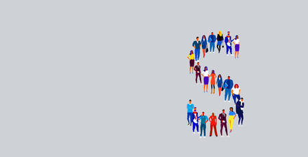 business people crowd forming shape letter S different men women businesspeople group standing together English alphabet concept full length horizontal vector illustration