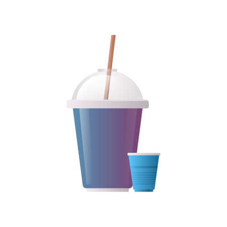 plastic disposable cup for beverage with sphere dome cap and straw flat white background vector illustration