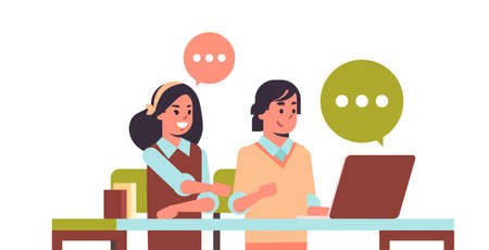 students couple using laptop girl and guy sitting at desk chat bubble communication e-learning education concept teenage male female cartoon characters portrait flat horizontal vector illustration