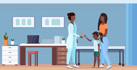 mother with daughter visiting african american doctor pediatrician giving lollipop to little girl consultation healthcare concept modern hospital interior full length flat horizontal vector illustration