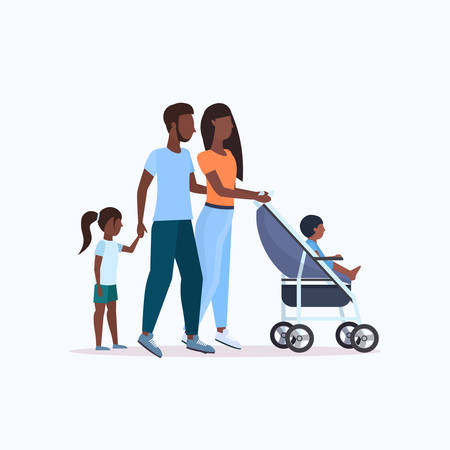 parents with daughter and toddler son in stroller walking outdoor african american family parenthood concept full length vector illustration Vecteurs