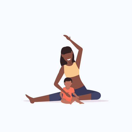 mother and kid doing physical exercises african american sportswoman engaged in fitness or yoga with baby son healthy lifestyle concept flat full length vector illustration