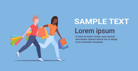 women carrying colorful paper bags mix race girls running with purchases big sale shopping concept female cartoon characters flat full length copy space horizontal vector illustration  イラスト・ベクター素材