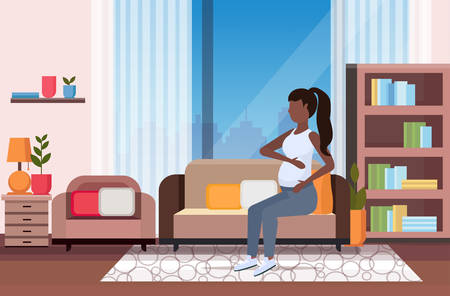 happy pregnant woman sitting on couch african american girl holding her bump girl pregnancy matherhood concept modern living room interior full length horizontal flat vector illustration