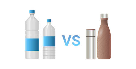 stainless vs plastic water bottles different drink containers zero waste concept flat white background horizontal vector illustration