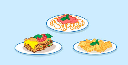set spaghetti pasta lasagne with basil and tomato sauce restaurant italian food collection sketch doodle horizontal vector illustration