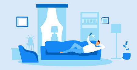 man using phone taking selfie on smartphone camera casual guy lying on couch social media networks communication concept modern living room interior sketch doodle horizontal vector illustration