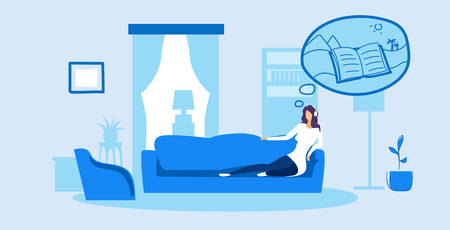 woman lying on couch young girl relaxing on sofa listening audio book through headphones modern living room interior female cartoon character full length sketch doodle horizontal vector illustration