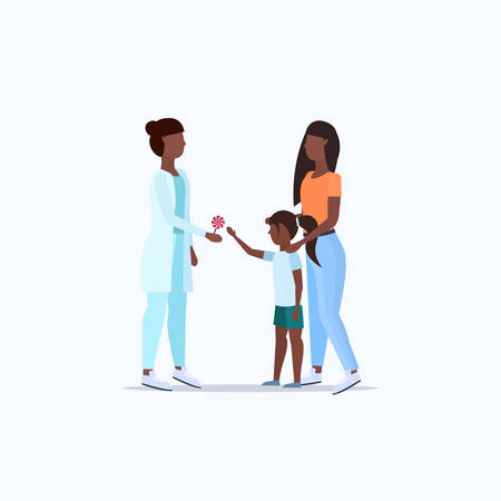 mother with daughter visiting african american doctor pediatrician giving lollipop to little girl consultation healthcare concept full length flat vector illustration