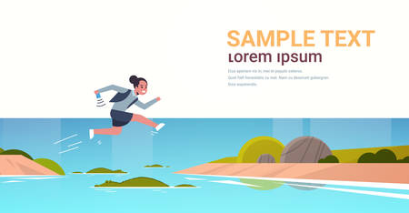brave businesswoman jumping over river with crocodiles risk and danger optimism determination concept business woman running to goal full length flat horizontal copy space vector illustration Çizim
