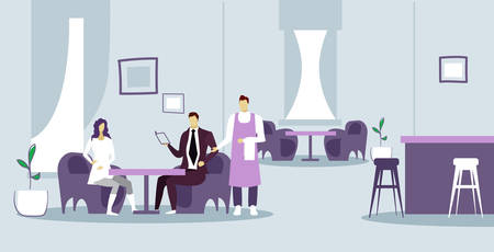 couple cafe visitors sitting at restaurant man woman giving order to male waiter hospitality and service concept modern restaurant interior sketch doodle horizontal vector illustration