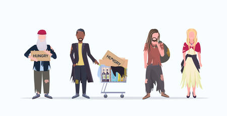 mix race beggars standing together male female tramps begging for help homeless concept flat full length white background horizontal vector illustration