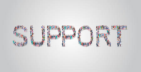 people crowd gathering in shape of support word different occupation employees mix race workers group standing together social media community concept flat horizontal vector illustration Vetores