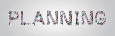 people crowd gathering in shape of planning word different occupation employees mix race workers group standing together social media community concept flat horizontal vector illustration