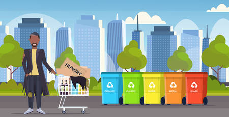 poor man pushing trolley cart with belongings african american guy begging for help homeless concept different types of recycle bins cityscape background full length horizontal flat vector illustration