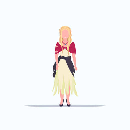woman beggar walking street female tramp begging for help homeless concept flat full length white background vector illustration Stock Illustratie