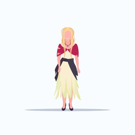 woman beggar walking street female tramp begging for help homeless concept flat full length white background vector illustration Illustration