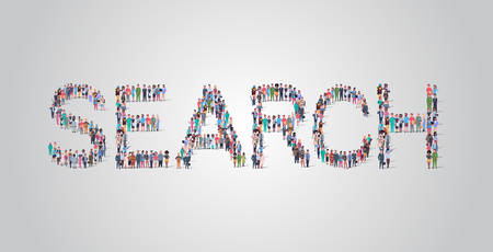 people crowd gathering in shape of search word different occupation employees mix race workers group standing together social media community concept flat horizontal vector illustration