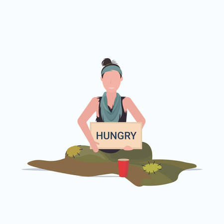 sad woman beggar holding sign board with hungry text girl tramp begging for help homeless concept flat full length white background vector illustration