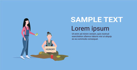 girl giving money to sad woman beggar holding sign board with hungry text girl tramp begging for help homeless concept flat full length horizontal copy space vector illustration
