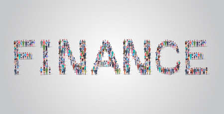 people crowd gathering in shape of finance word different occupation employees mix race workers group standing together social media community concept flat horizontal vector illustration