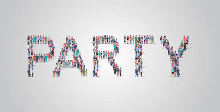 people crowd gathering in shape of party word different occupation employees mix race workers group standing together social media community concept flat horizontal vector illustration