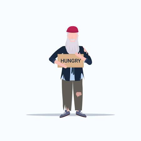 man beggar holding sign board with hungry text tramp begging for help homeless concept flat full length white background vector illustration Ilustração