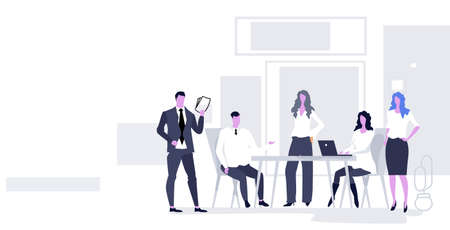 businesspeople team discussing new project during brainstorming meeting business people group talking on briefing teamwork concept modern conference room office interior horizontal full length vector illustration