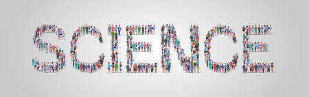 people crowd gathering in shape of science word different occupation employees mix race workers group standing together social media community concept flat horizontal vector illustration