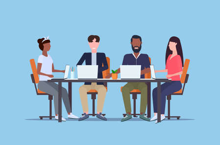 businesspeople working on laptops during training conference meeting mix race people team sitting at round table teamwork brainstorming concept flat full length horizontal vector illustration