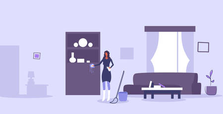 housewife cleaning furniture girl wiping dust with duster and spray household concept woman doing housework modern living room interior horizontal full length vector illustration