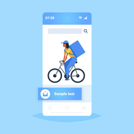 woman courier with large backpack riding a bike express food delivery service concept smartphone screen online mobile application flat full length vector illustration Vettoriali