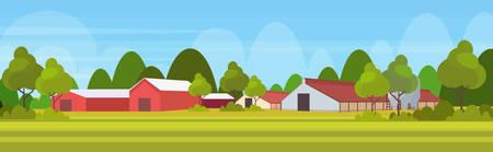 farm house modern barn building exterior field farmland countryside landscape background flat horizontal vector illustration