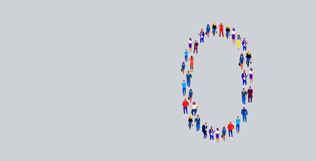 business people crowd gathering in number zero 0 shape businesspeople group standing together social media community concept full length vector illustration