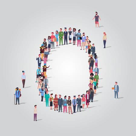 Gente grande multitud reunida en forma de letra O grupo de empleados de diferentes ocupaciones de pie juntos concepto de alfabeto inglés ilustración de vector de longitud completa Ilustración de vector