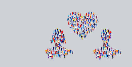 businesspeople crowd gathering in couple with love heart shape different business people group standing together social media communication valentine day concept horizontal vector illustration