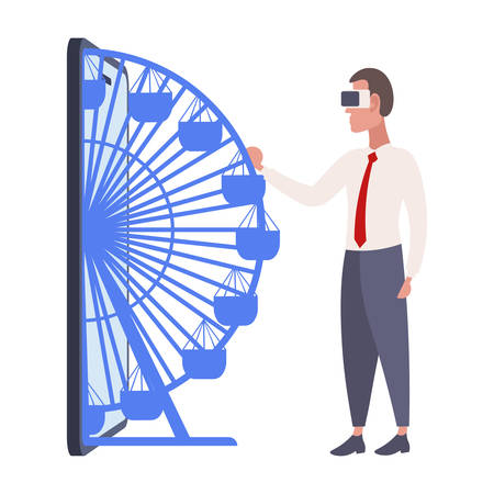 businessman wearing digital glasses business man twisting vr ferris wheel from smartphone screen headset vision virtual reality technology concept flat full length vector illustration