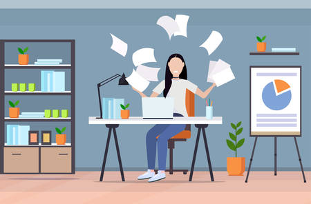tired businesswoman throwing papers unsatisfied business woman feeling stress negative emotion problem failed project concept modern office interior flat full length horizontal vector illustration