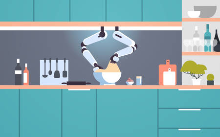smart handy chef robot making dough in bowl robotic assistant innovation technology artificial intelligence concept modern kitchen interior flat horizontal vector illustration  イラスト・ベクター素材