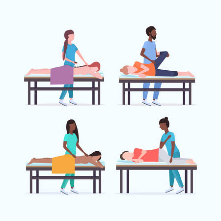 set masseurs therapists doing healing treatment of mix race patients on massage table specialists massaging injured body parts collection manual sport physical therapy concept full length vector illustration
