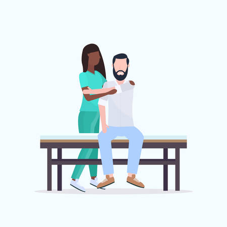 young man sitting on bed african american masseuse therapist in uniform doing healing treatment massaging patient body manual therapy physiotherapy concept vector illustration Иллюстрация