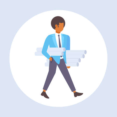 man architect holding rolled up blueprints engineer panning new project architecture construction industry concept contractor with architectural projects full length flat vector illustration